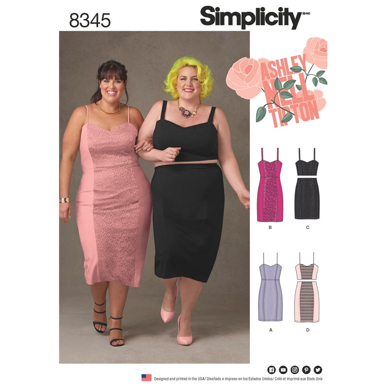Simplicity Pattern 8345 Plus Size Dress Top and Skirt by image 0