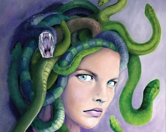 Medusa, Snakes, Gorgon, Greek Mythology Art Print