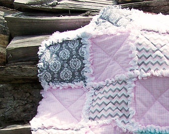 Pink Gingham, Gray Zig Zag, Turquiose, Elephant, Flannel, Rag Quilt for toddler or baby