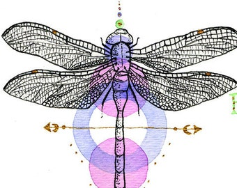 Dragonfly With Brave Wings She Flies Original Mixed Media Gold Accent
