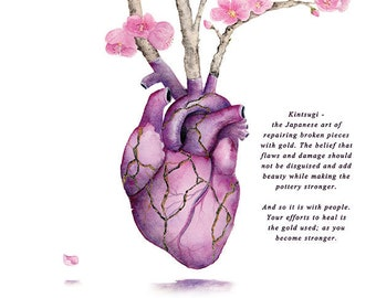 Kintsugi Heart - Gold Heart Cherry Blossom Watercolor Hand Embellished Digital Print with Wording