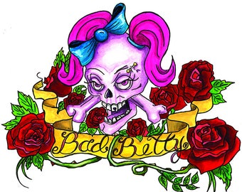 Bad Betty, Tattoo Style, Roses and Skulls, Girl Skull, Pigtails and Piercings, Print