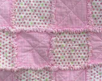 Pink Gingham, Flowers, Flannel, Rag Quilt for toddler or baby