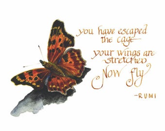 Butterfly, quote, Rumi, spread your wings, print