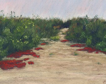 Fire Moss, Path, Brush, Red, Pastel Print, 8 x 10