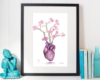Kintsugi Heart - Gold Heart Cherry Blossom Watercolor Hand Embellished Digital Print