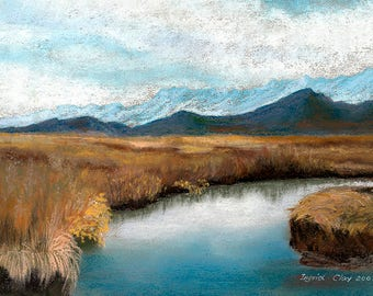 Calm Waters, Stream, Mountain Range, Alaska, Pastel Print