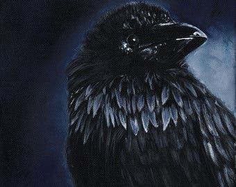 Portrait of a Raven, Print, Bird, Blue, Black