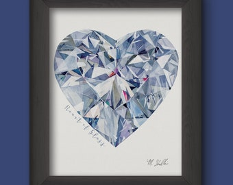 Heart of Glass Watercolor Digital Print - Blue, Pink, Purple