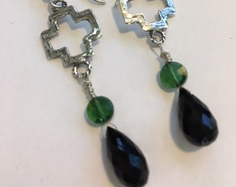 Black Onyx Faceted Teardrop Earrings with Green Glass and Artisan Handmade Sterling Silver Open Cross Connector Earrings