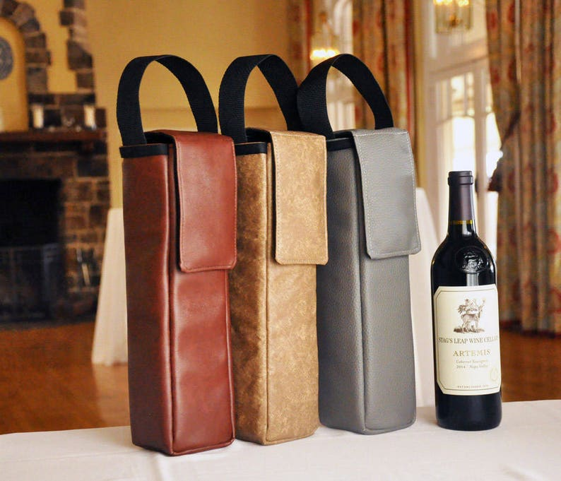 Leather Wine Carrier >> Insulated Wine Bag Vegan Faux Leather Wine Carrier Thermal Etsy