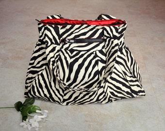 Zebra print handbag, beautiful black and white purse, zippered shoulder bag with pockets, high fashion animal print zipper tote bag