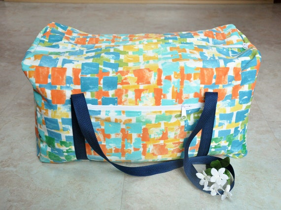 9dd9d301e617 Womens duffel bag Designer duffel bag Blue orange yellow