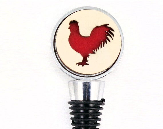 Rooster Wine Stopper - Bottle Stoppers - Wine Bottle Stoppers with Plywood and felt-Gift for a wine lover-Hostess Gift-Housewarming Gift