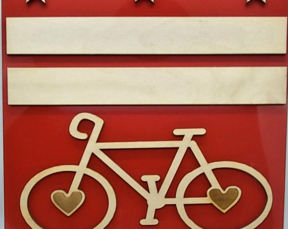 Washington DC Flag and Bike Plywood and Recycled Aluminum in Red