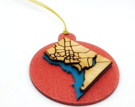 DC Map Holiday Xmas tree wooden Ornaments