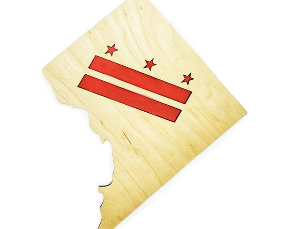 DC Flag in District Plywood and Recycled Aluminum in Red