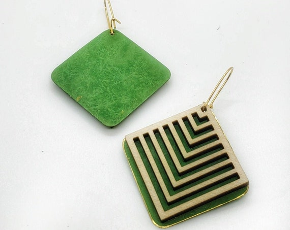 Brass Patina and Plywood Square Earrings in light Green