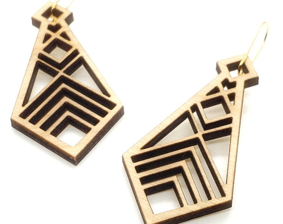 Wood Filigree cuts Earrings