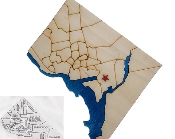 DC Plywood Wall Map and FREE magnet