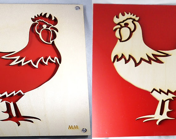 Set of RED ROOSTERS No Waste Design Plywood and Recycled Aluminum