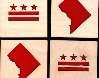 4 DC Flag/MAP Coasters laser cut natural eco-friendly Waterproof plywood birch and Felt