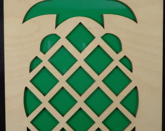 Pineapple from Plywood and Recycled Aluminum in Green