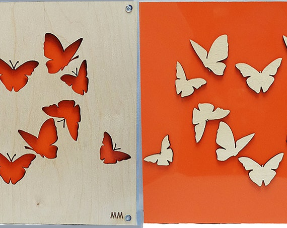 Set of Orange Butterflies No Waste Design Plywood and Recycled Aluminum