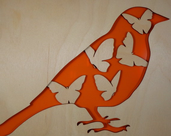 Bird with Butterflies Plywood and Recycled Aluminum in orange