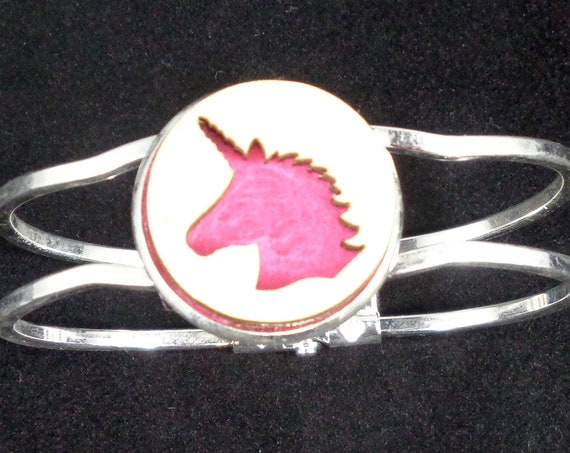 Unicorn Cuff Bracelet from cut Plywood and Felt set into Hinged Stainless Steel setting