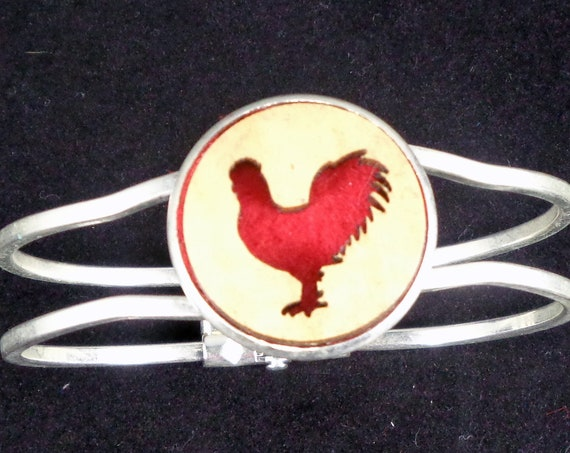 Rooster Cuff Bracelet from cut Plywood and Felt set into Hinged Stainless Steel setting