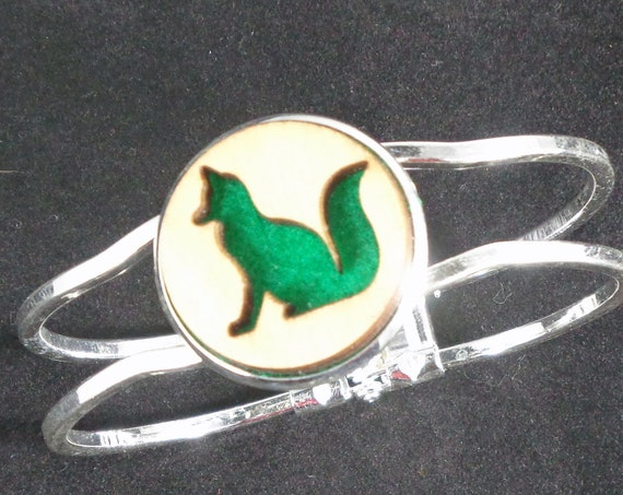 Fox Cuff Bracelet from cut Plywood and Felt set into Hinged Stainless Steel setting