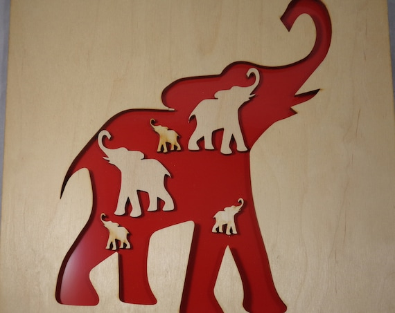 Elephant with Elephants Plywood and Recycled Aluminum in Red