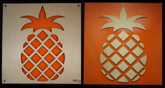 Set of Pineapples No Waste Design Plywood and Recycled Aluminum