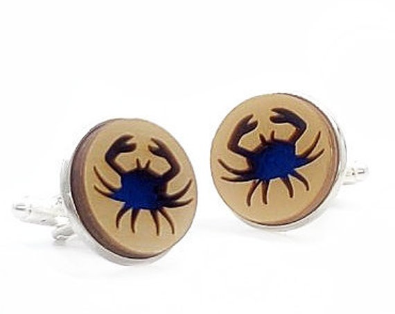 Crab cuff links of stainless Steel, Plywood and Felt for Father's Day Gift, 5th anniversary gift, Groomsmen gift, Wedding cuff links