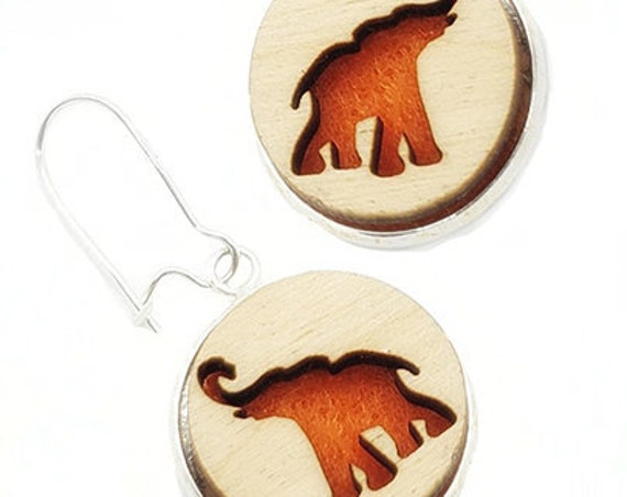 Elephant Earrings from cut Plywood and felt set in Stainless Steel  and hung from silver