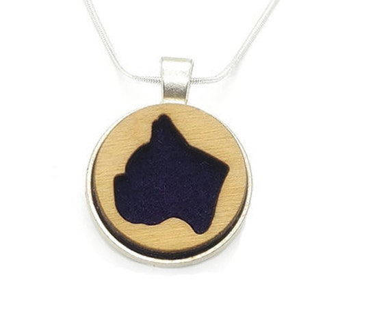 Frenchie Bulldog pendant of plywood and felt