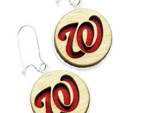 Curly W Earrings from cut Plywood and felt set in Stainless Steel  and hung from silver