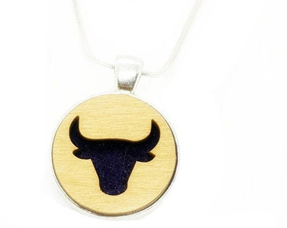 Taurus Bull pendant of plywood and felt