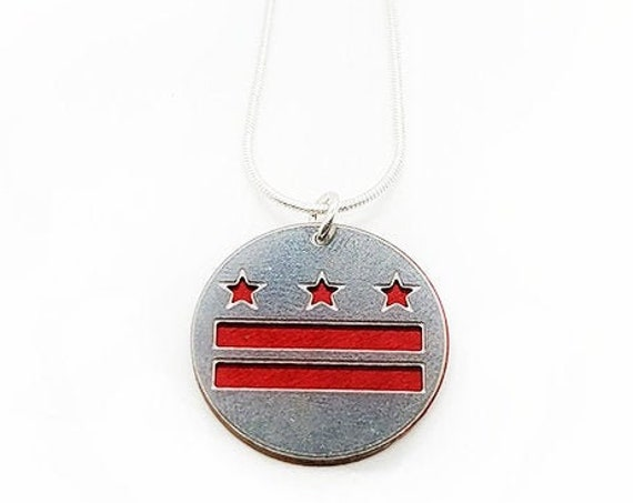 DC Flag Stars and Bars pendant of stainless steel and recycled aluminum