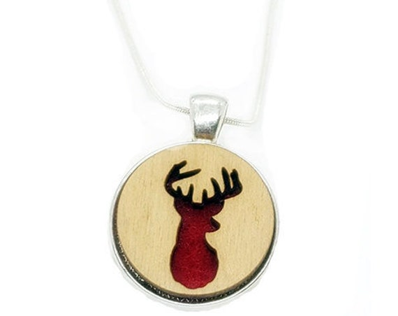 Deer pendant of plywood and felt