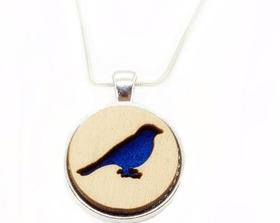 Blue Bird pendant of plywood and felt