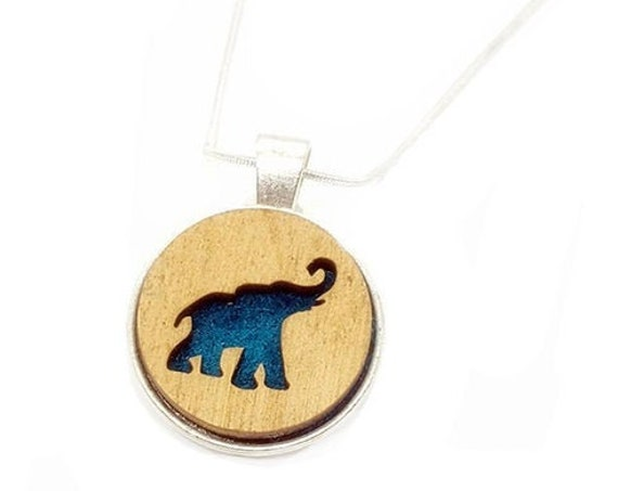 Elephant pendant of plywood and felt