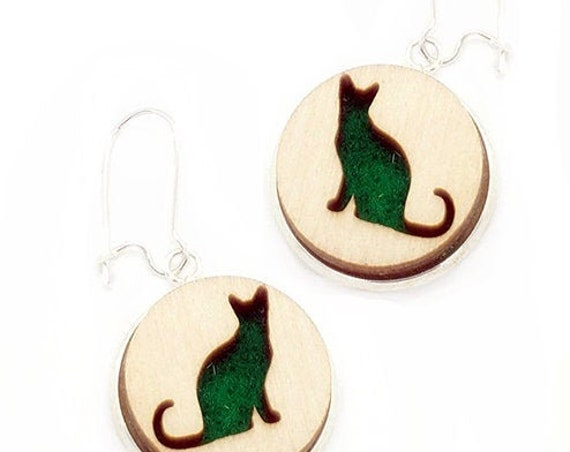 Cat Earrings from cut Plywood and Felt set in Stainless Steel and hung from silver
