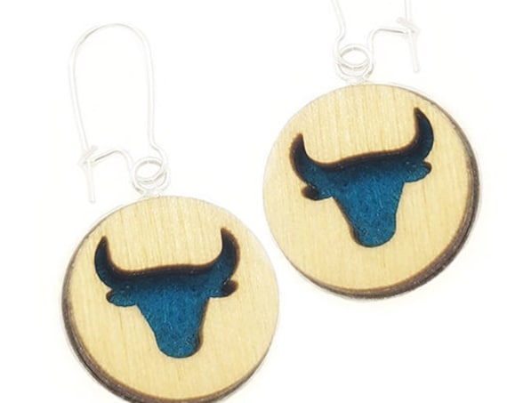 Taurus Bull Earrings from cut Plywood and Felt set in Stainless Steel and hung from silver