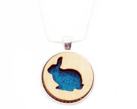 Bunny Rabbit pendant of plywood and felt