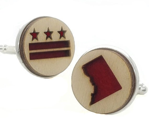 DC Flag/Map cuff links of stainless Steel, Plywood and Felt for Father's Day Gift, 5th anniversary gift, Groomsmen gift, Wedding cuff links