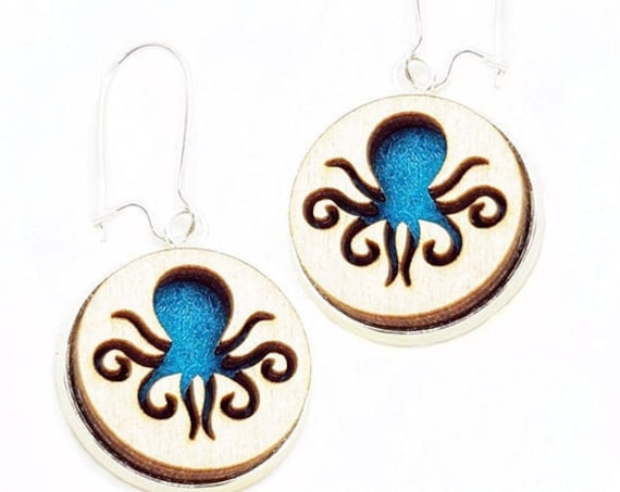Octopus Earrings from cut Plywood and Felt set in Stainless Steel and hung from silver