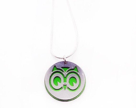 Double sided Owl pendant of stainless steel and recycled aluminum