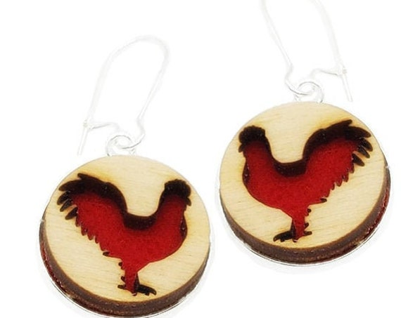 Rooster Earrings from cut Plywood and Felt set in Stainless Steel and hung from silver